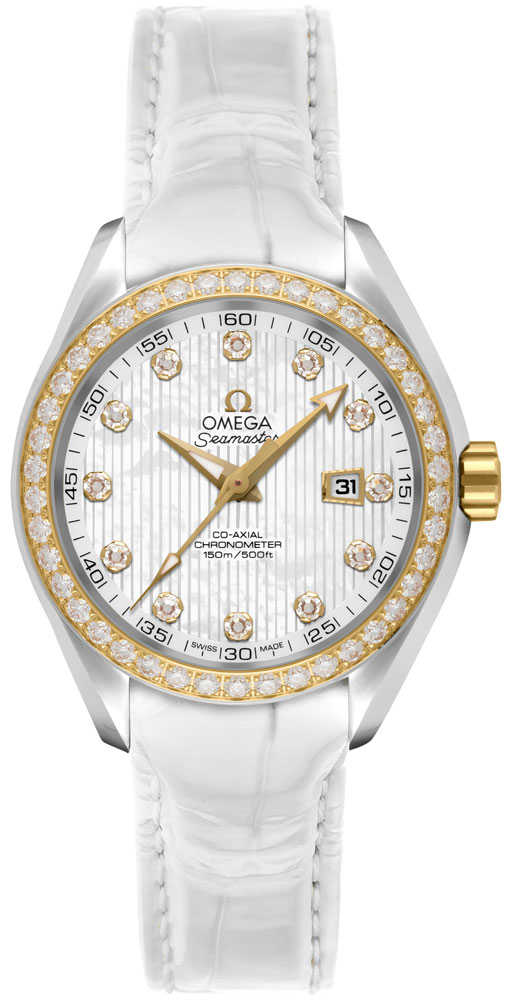 Omega Seamaster Aqua Terra Co-Axial Diamond and White Pearl Women's Watch 231.28.34.20.55.001 White Mother Of Pearl USA - GOOFASH - Womens WATCHES