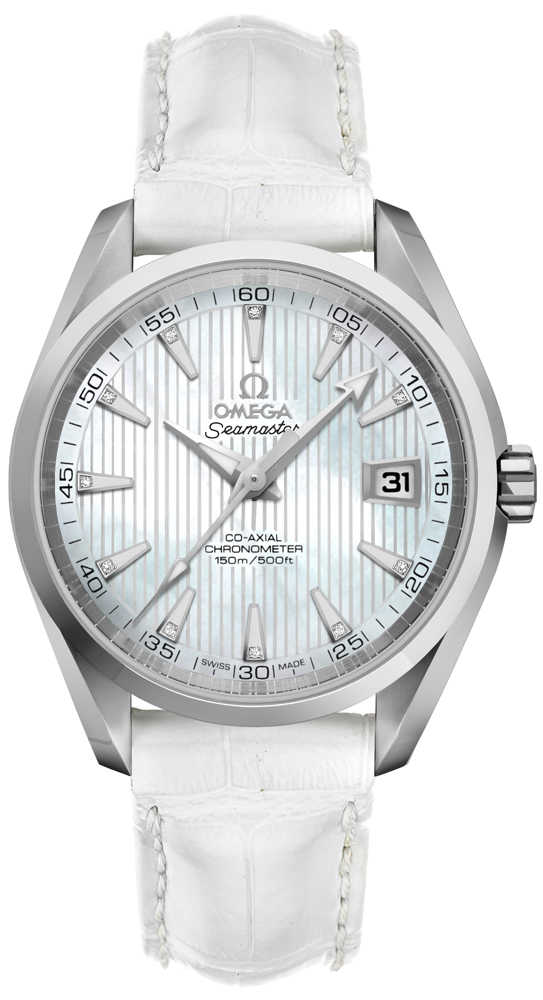 Omega Seamaster Aqua Terra White Pearl & Diamond Men's Watch 231.13.39.21.55.001 White Mother Of Pearl USA - GOOFASH - Mens WATCHES