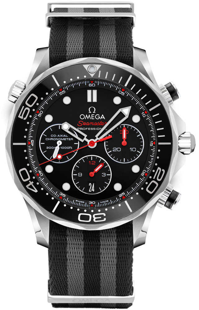 Omega Seamaster Black Dial Nato Strap Men's Watch 212.30.44.50.01.001 Black USA - GOOFASH - Mens WATCHES