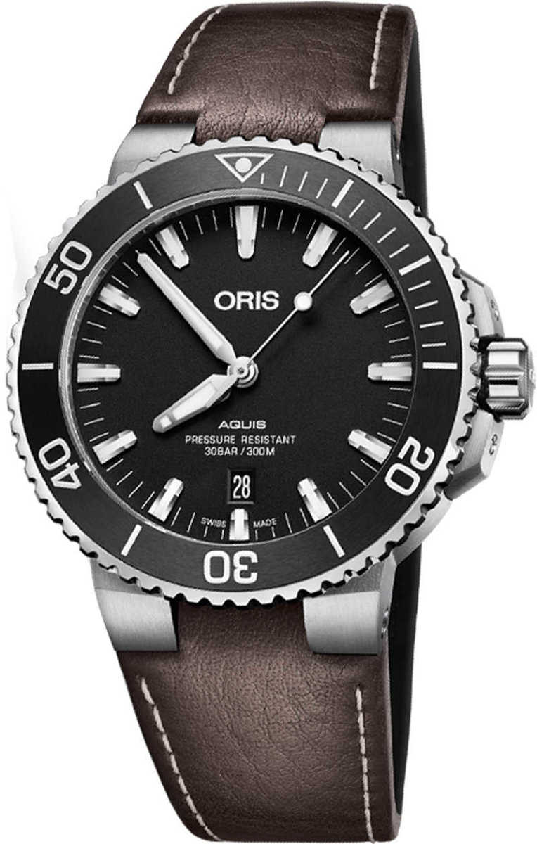 Oris Aquis Date Black Dial Brown Strap Men's Watch 73377304124LS Black USA - GOOFASH - Mens WATCHES