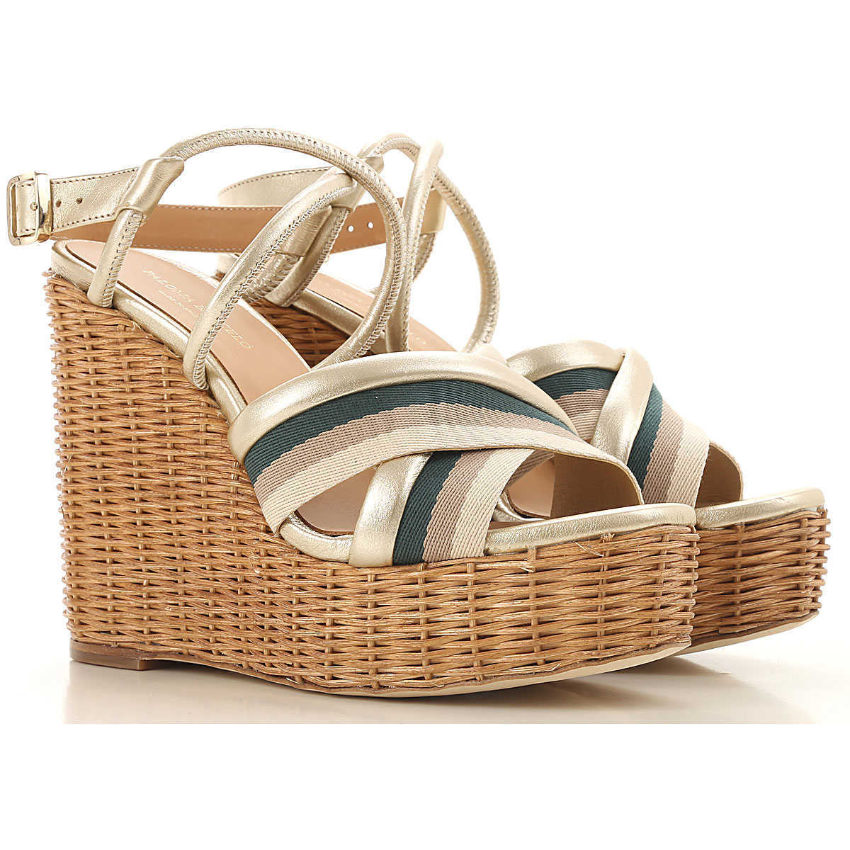 Paloma Barcelo Wedges for Women Platinum Canada - GOOFASH - Womens HOUSE SHOES