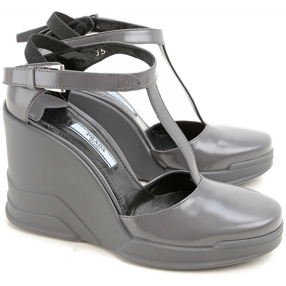 Prada Wedges for Women in Outlet Grey Canada - GOOFASH - Womens HOUSE SHOES