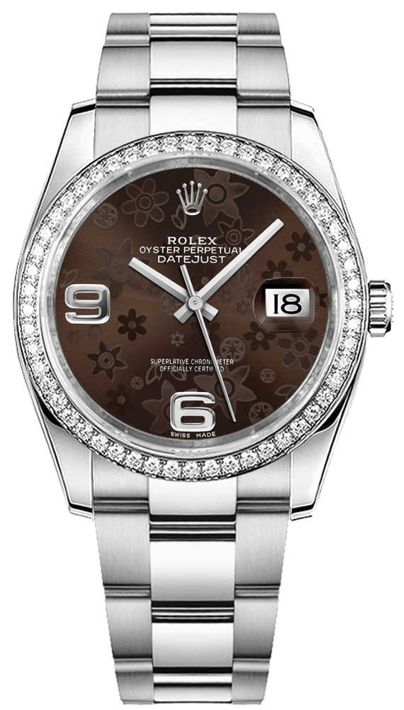Rolex Datejust 36 Brown Floral Dial Watch 116244 Brown USA - GOOFASH - Womens WATCHES