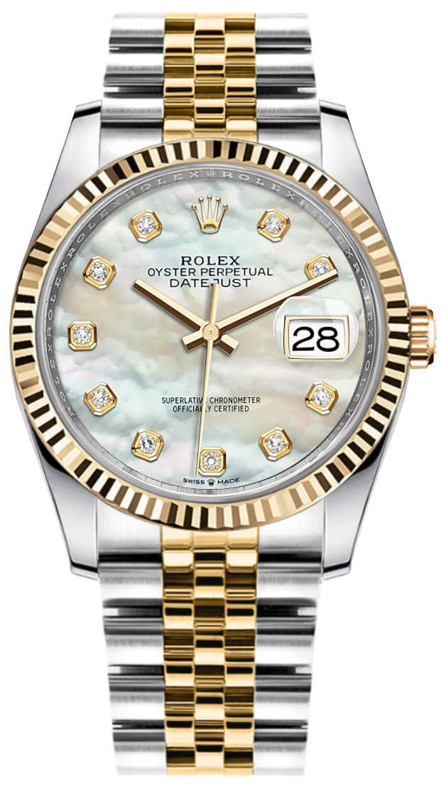 Rolex Datejust 36 Mother of Pearl Diamond Dial Watch 126233 White Mother Of Pearl USA - GOOFASH - Mens WATCHES