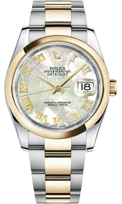 Rolex Datejust 36 Mother of Pearl Roman Numeral Oyster Bracelet Watch 116203 White Mother Of Pearl USA - GOOFASH - Womens JEWELRY