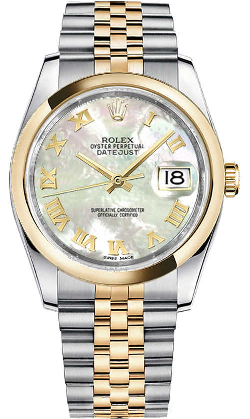 Rolex Datejust 36 Mother of Pearl Roman Numeral Watch 116203 White Mother Of Pearl USA - GOOFASH - Womens WATCHES