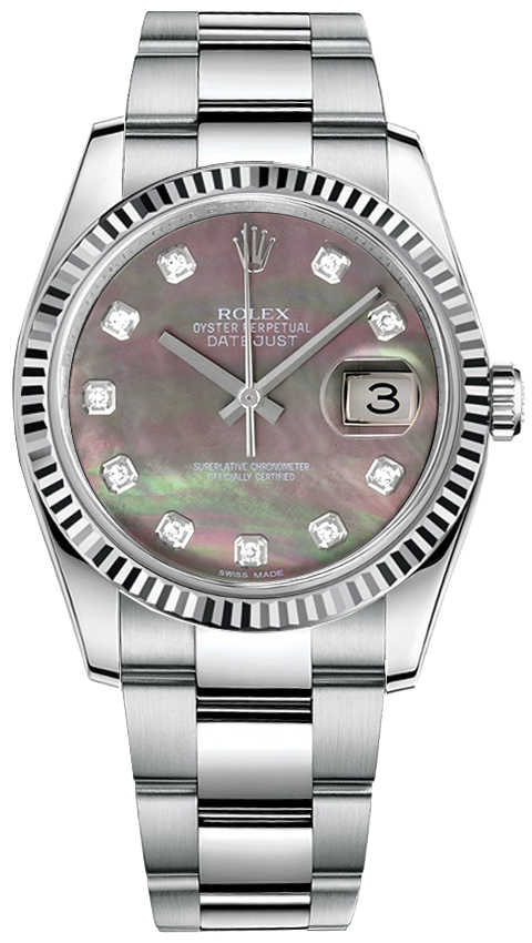 Rolex Datejust 36 Pearl Black & Diamond Dial Women's Watch 116234 Black Mother Of Pearl USA - GOOFASH - Womens WATCHES