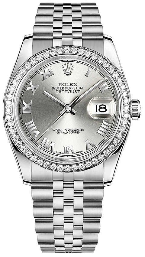 Rolex Datejust 36 Silver Roman Numeral Dial Watch 116244 Silver USA - GOOFASH - Womens WATCHES