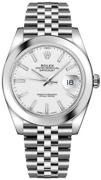Rolex Datejust 41 White Dial Oystersteel Automatic Chronometer Men's Watch 126300 White USA - GOOFASH - Mens WATCHES