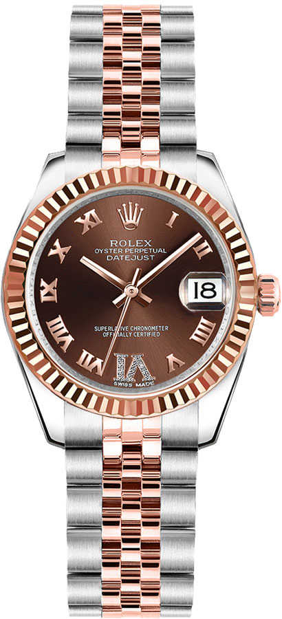 Rolex Lady-Datejust 26 Chocolate Dial Women's Watch 179171 Brown USA - GOOFASH - Womens WATCHES