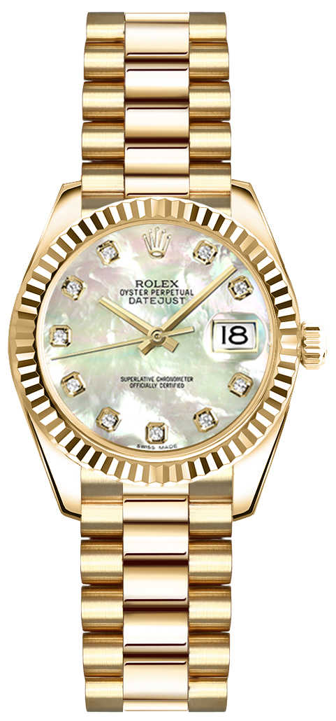 Rolex Lady-Datejust 26 Mother of Pearl Diamond Gold Watch 179178 White Mother Of Pearl USA - GOOFASH - Womens WATCHES