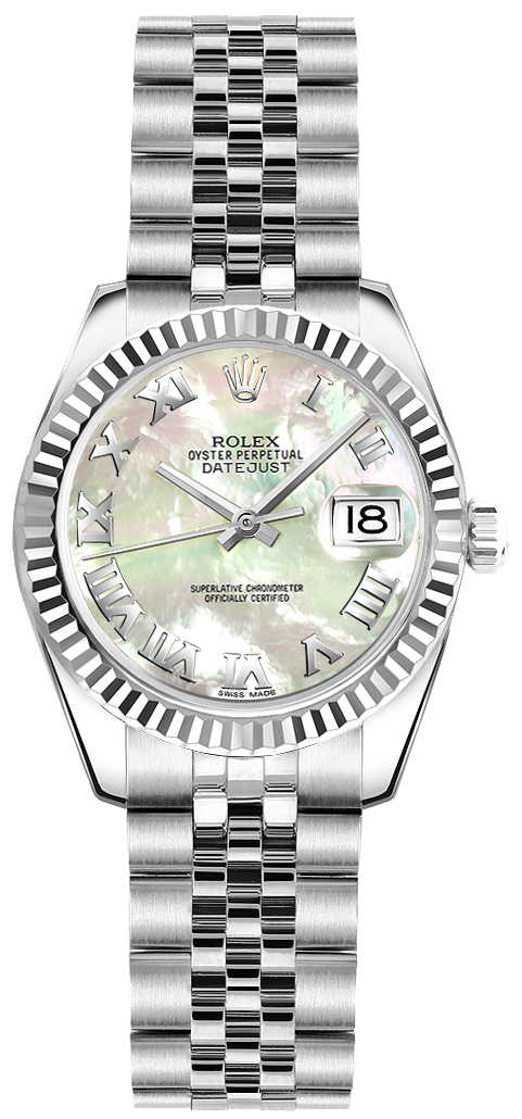 Rolex Lady-Datejust 26 Pearl Watch 179174 White Mother Of Pearl USA - GOOFASH - Womens WATCHES