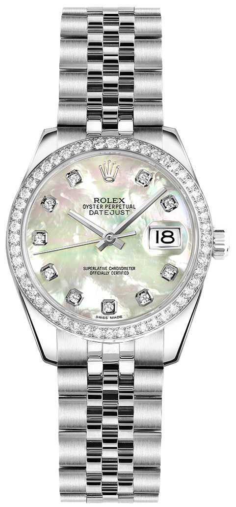 Rolex Lady-Datejust 26 Pearl Women's Watch 179384 White Mother Of Pearl USA - GOOFASH - Womens WATCHES