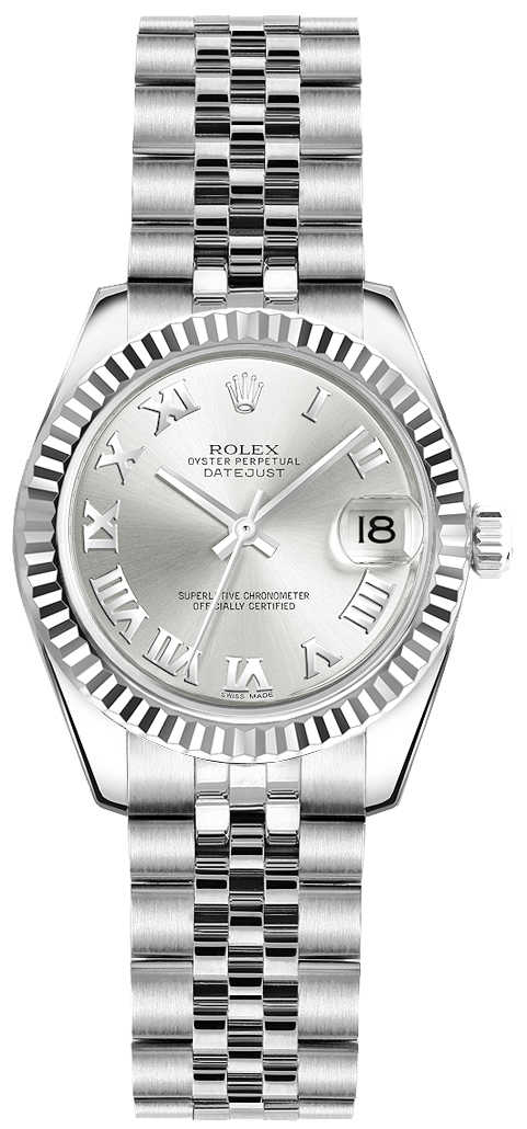 Rolex Lady-Datejust 26 Silver Roman Numeral Dial Ladies Watch 179174 Silver USA - GOOFASH - Womens WATCHES