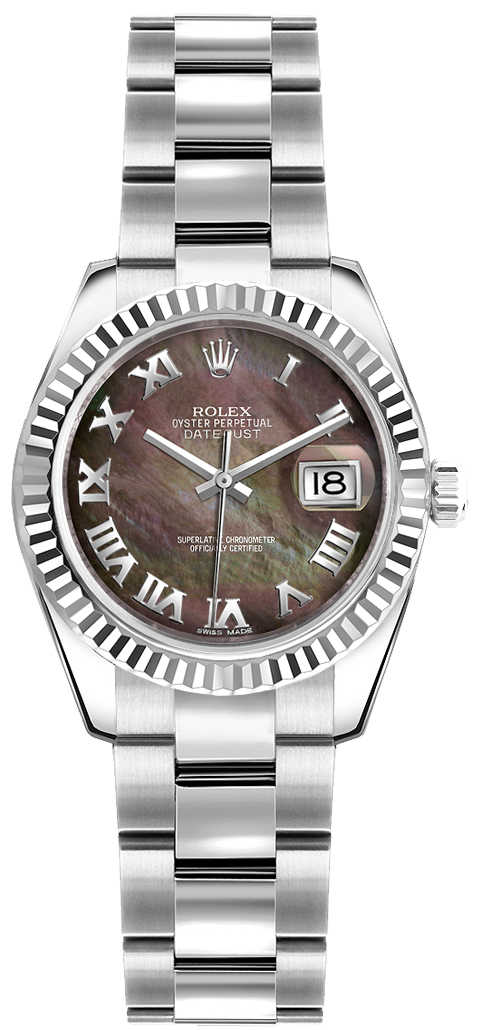 Rolex Lady-Datejust 26 Women's Pearl Watch 179174 Black Mother Of Pearl USA - GOOFASH - Womens WATCHES