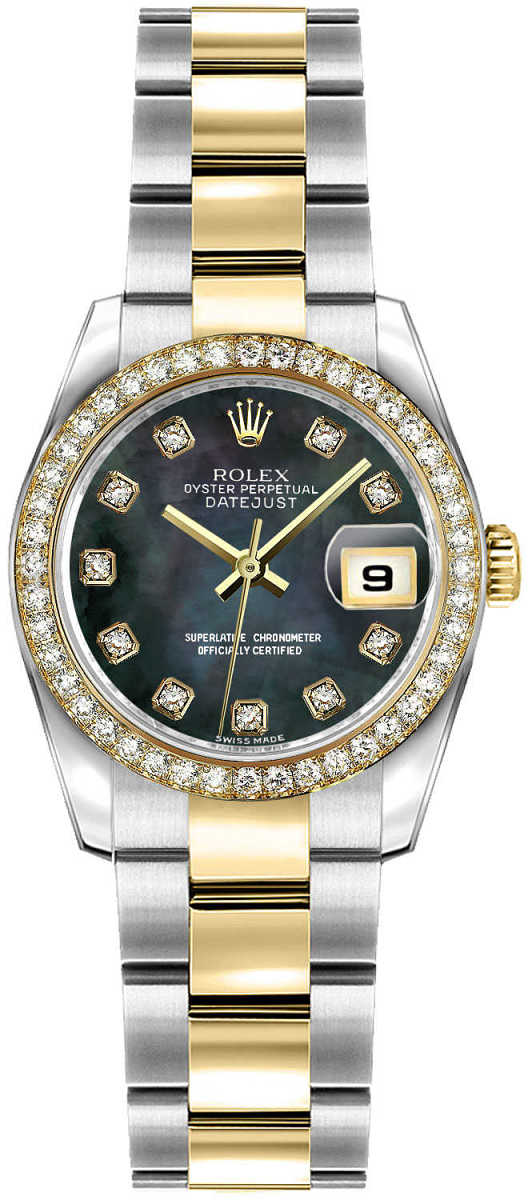 Rolex Lady-Datejust 26 Women's Watch 179383 Black Mother Of Pearl USA - GOOFASH - Womens WATCHES