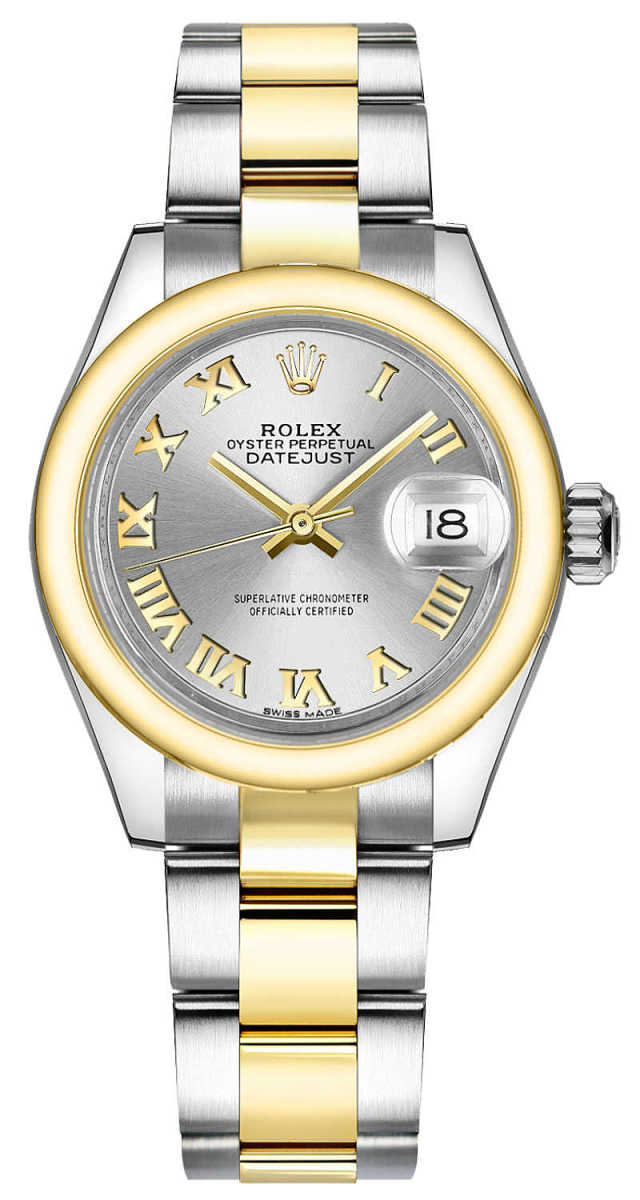 Rolex Lady-Datejust 28 Silver Roman Numeral Gold & Steel Watch 279163 Silver USA - GOOFASH - Womens T-SHIRTS