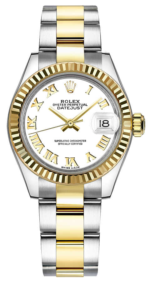 Rolex Lady-Datejust 28 White Roman Numeral Dial Watch 279173 White USA - GOOFASH - Womens WATCHES