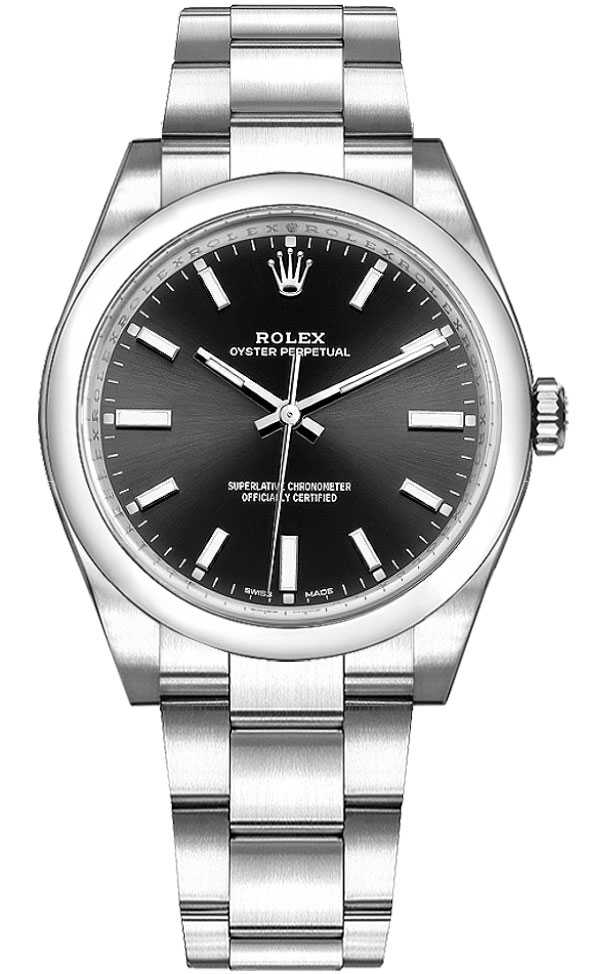 Rolex Oyster Perpetual 34 Black Dial Women's Watch 114200 Black USA - GOOFASH - Womens WATCHES