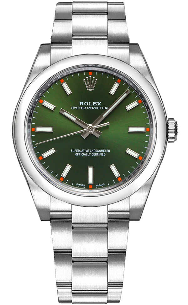 Rolex Oyster Perpetual 34 Green Dial Luxury Watch 114200 Green USA - GOOFASH - Womens WATCHES