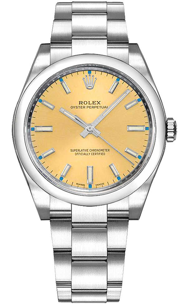 Rolex Oyster Perpetual 34 Steel Watch 114200 Champagne USA - GOOFASH - Womens T-SHIRTS
