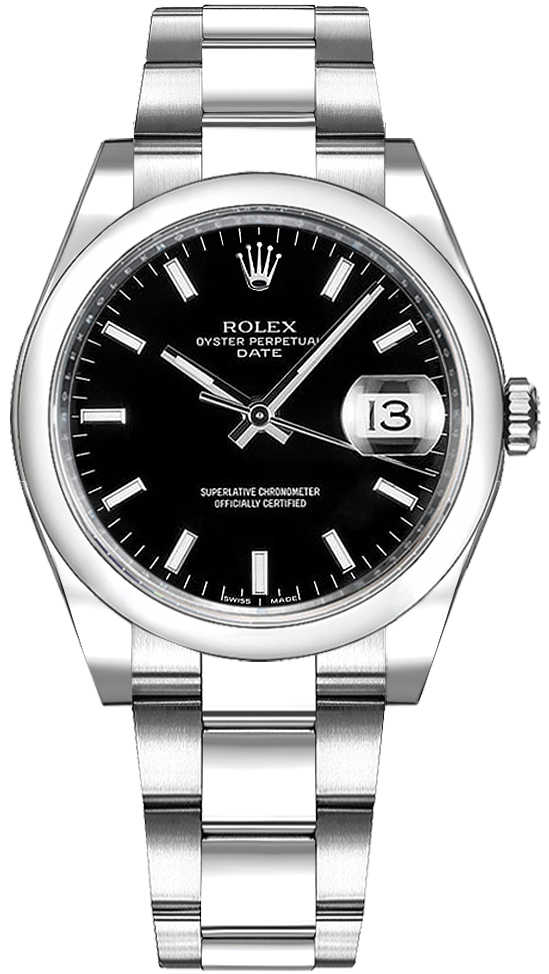 Rolex Oyster Perpetual Date 34 Black Dial Watch 115200 Black USA - GOOFASH - Womens WATCHES