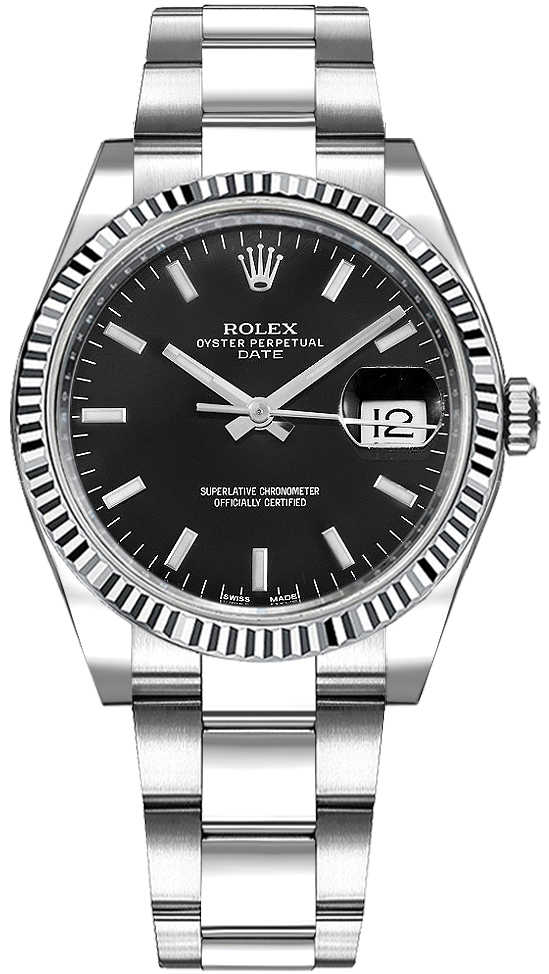 Rolex Oyster Perpetual Date 34 Black Dial Watch 115234 Black USA - GOOFASH - Womens WATCHES
