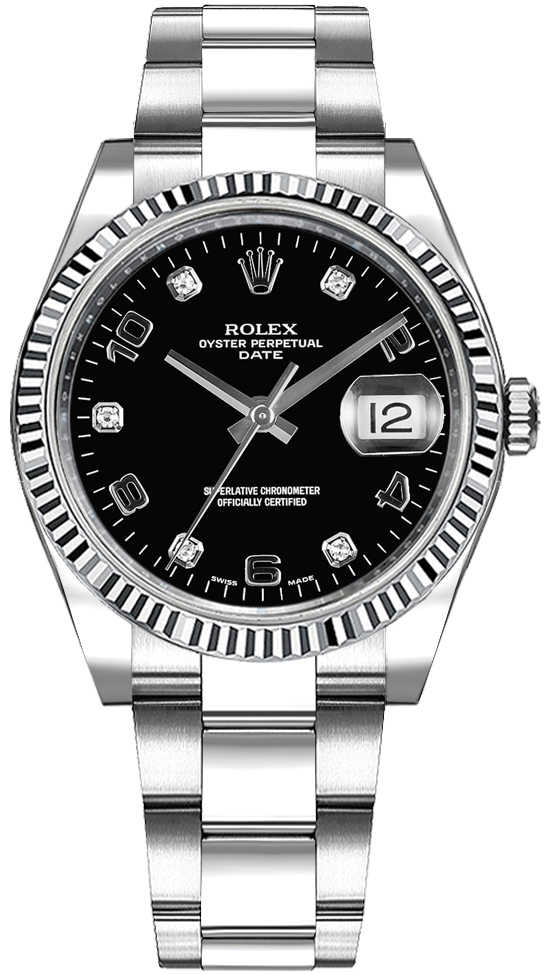 Rolex Oyster Perpetual Date 34 Black Diamond Dial Watch 115234 Black USA - GOOFASH - Womens WATCHES
