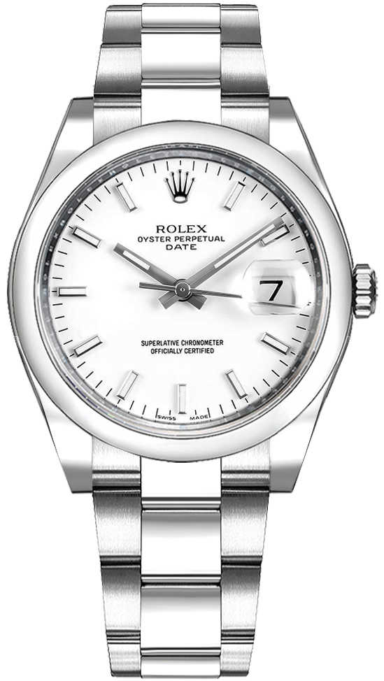 Rolex Oyster Perpetual Date 34 White Dial Luxury Watch 115200 White USA - GOOFASH - Womens WATCHES