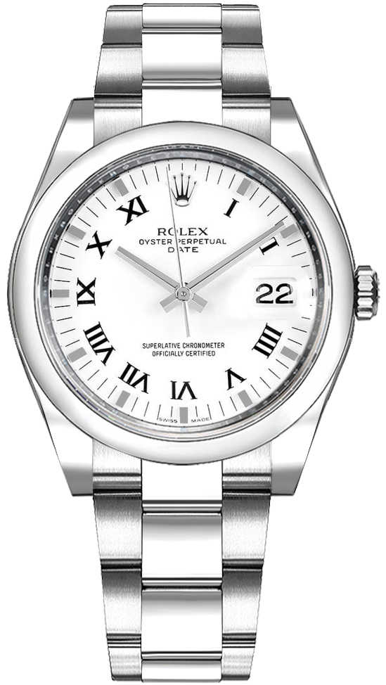 Rolex Oyster Perpetual Date 34 White Roman Numeral Dial Watch 115200 White USA - GOOFASH - Womens WATCHES
