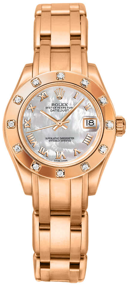 Rolex Pearlmaster 29mm Everose Gold Women's Watch 80315 White Mother Of Pearl USA - GOOFASH - Womens WATCHES