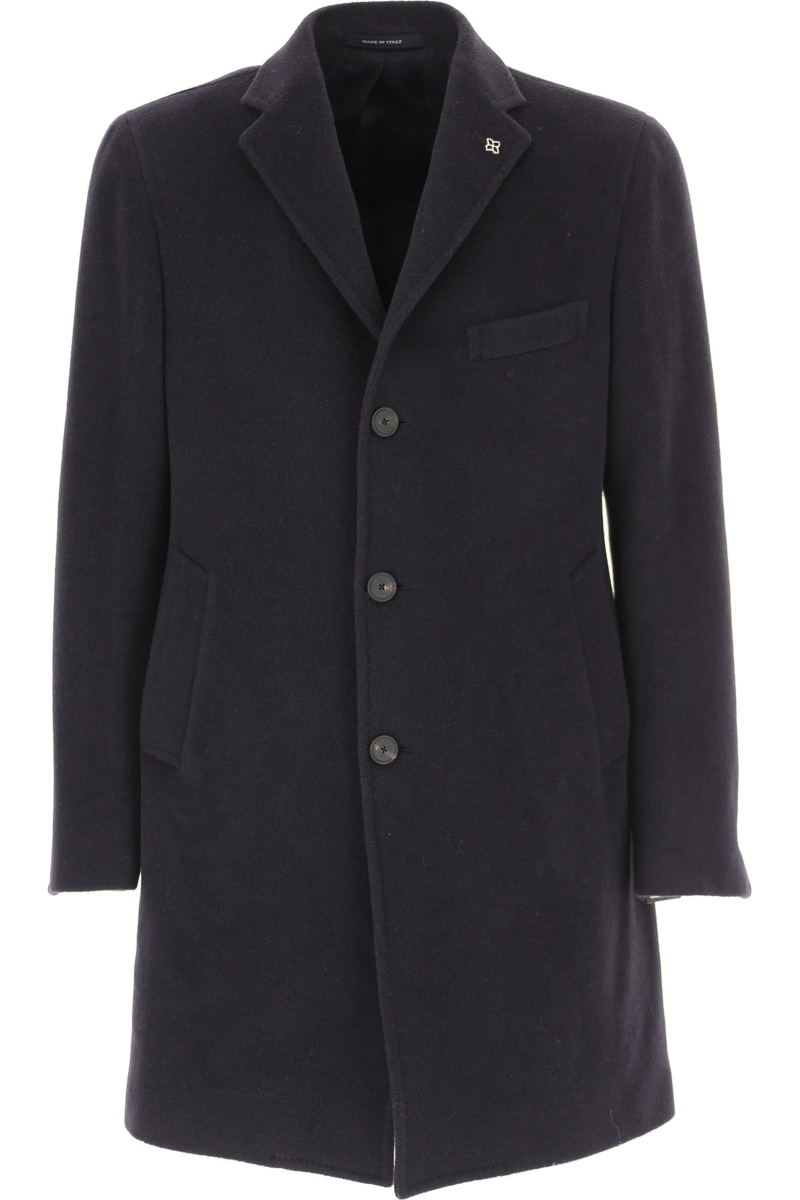 Tagliatore Men's Coat in Outlet Dark Blue Canada - GOOFASH - Mens COATS