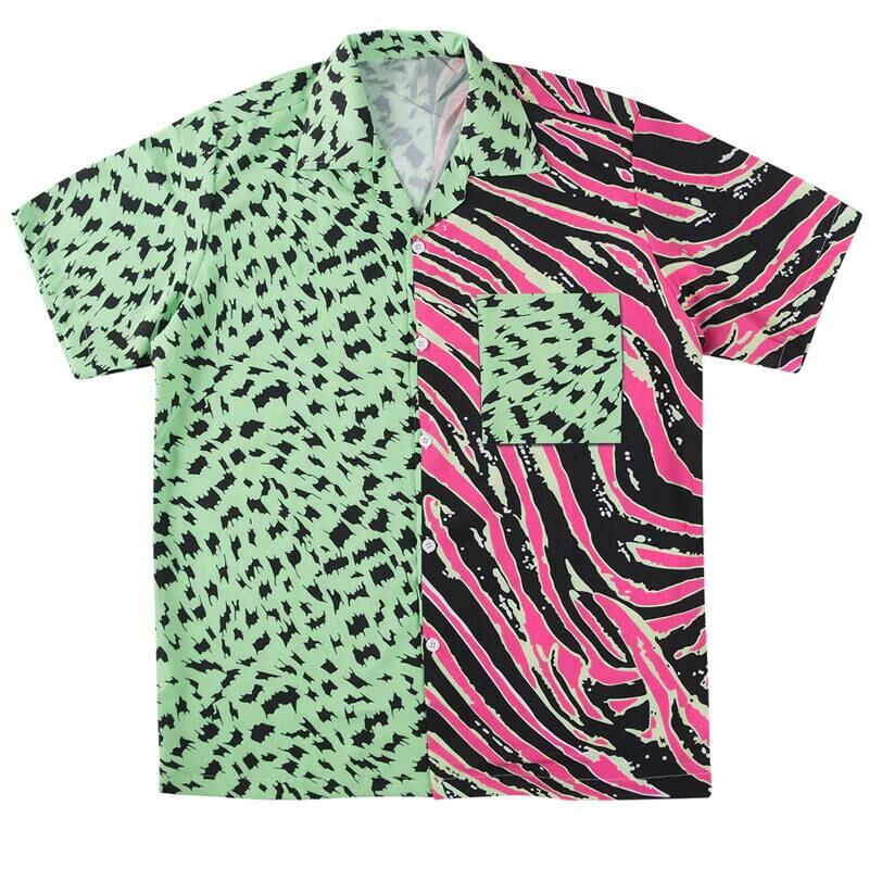 Men FASHION Shirt with zebra stripes and leopard dots