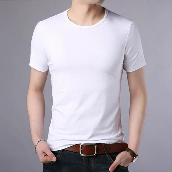 Men FASHION Man Casual cotton men t-shirt with short sleeves white 1