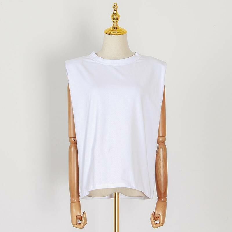 Women FASHION Sleeveless loose ruched streetwear top for women in white 1