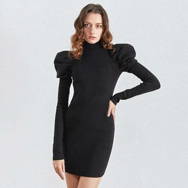 Women FASHION Ruched knitting women dress with puff sleeves 1