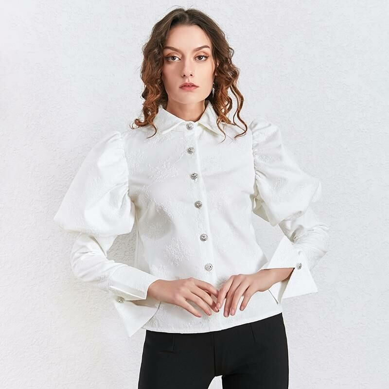 Women FASHION Floral shirt blouse with puff sleeves for women in white 1