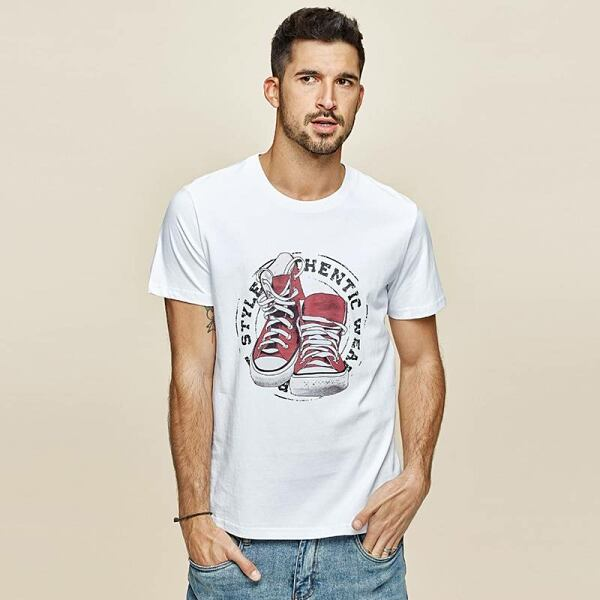 Men FASHION Man White cotton t-shirt with print for men 1