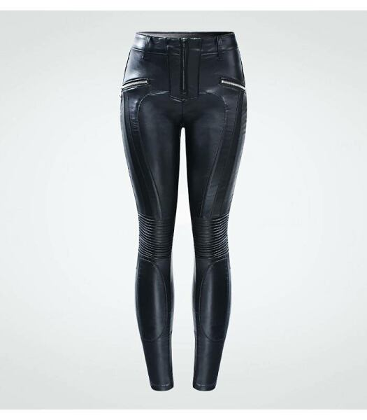 Women FASHION Velvet biker pu leather pants for women 1