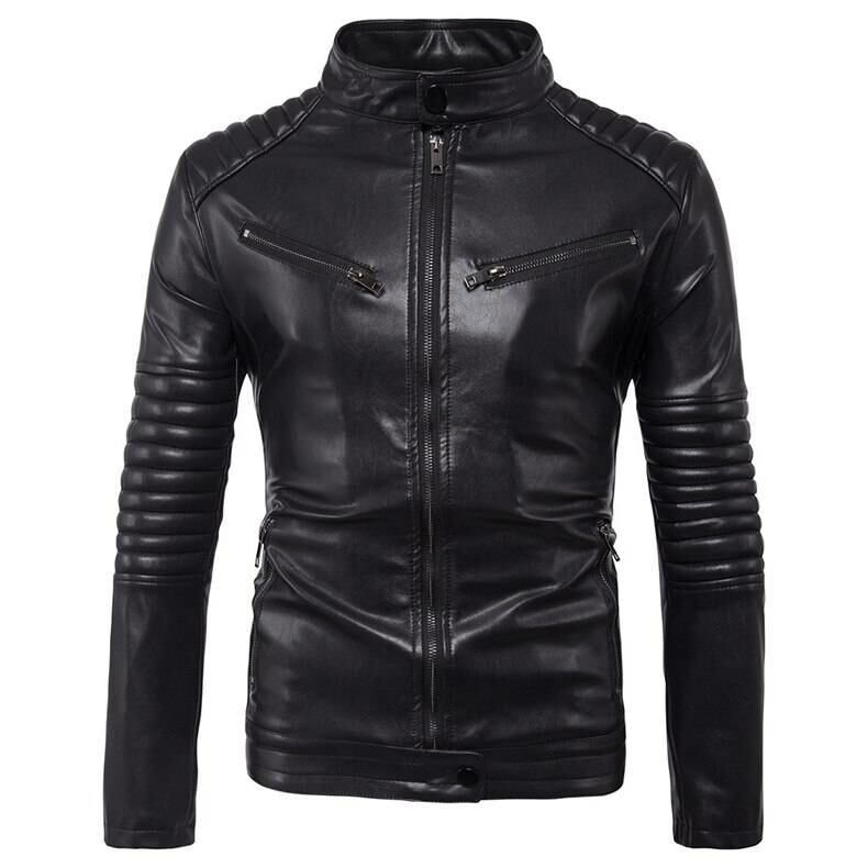 Men FASHION Man Biker pu leather jacket for men 1