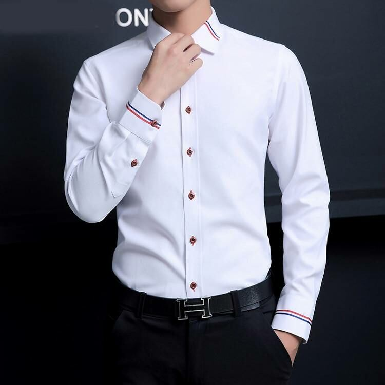 Men FASHION Man Slim fashion oxford shirt for men in white