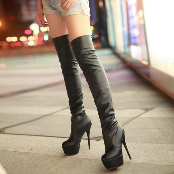 Women SHOES Over knee boots for women in black