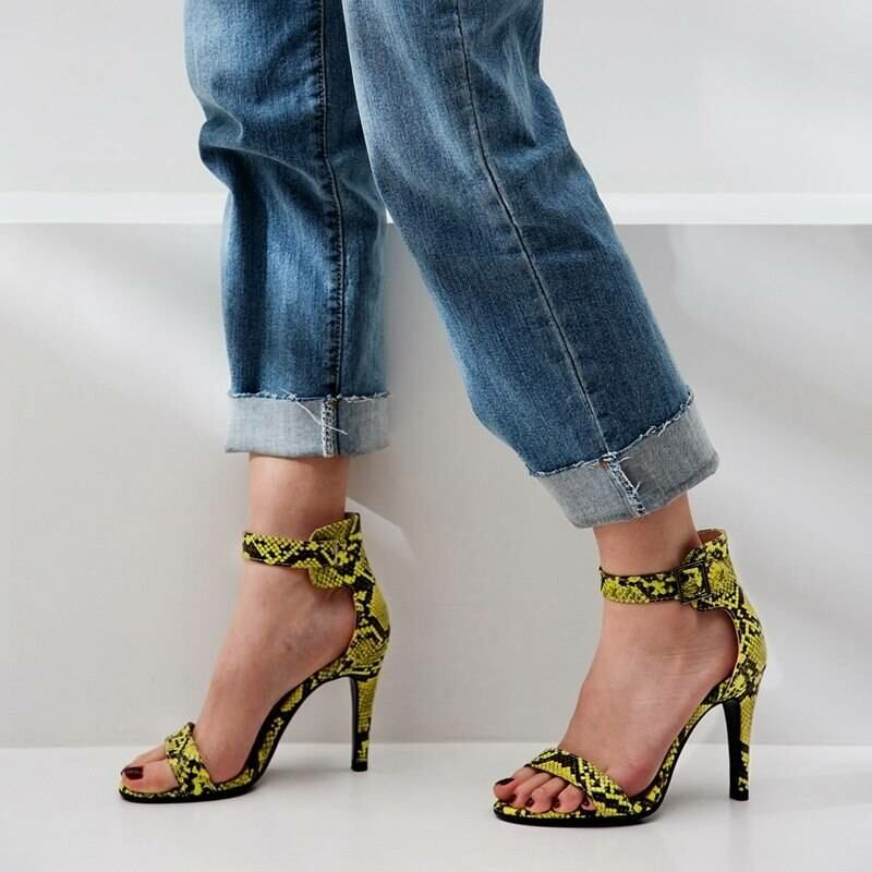Women SHOES Women high heel sandals with snakeskin pattern in yellow 2