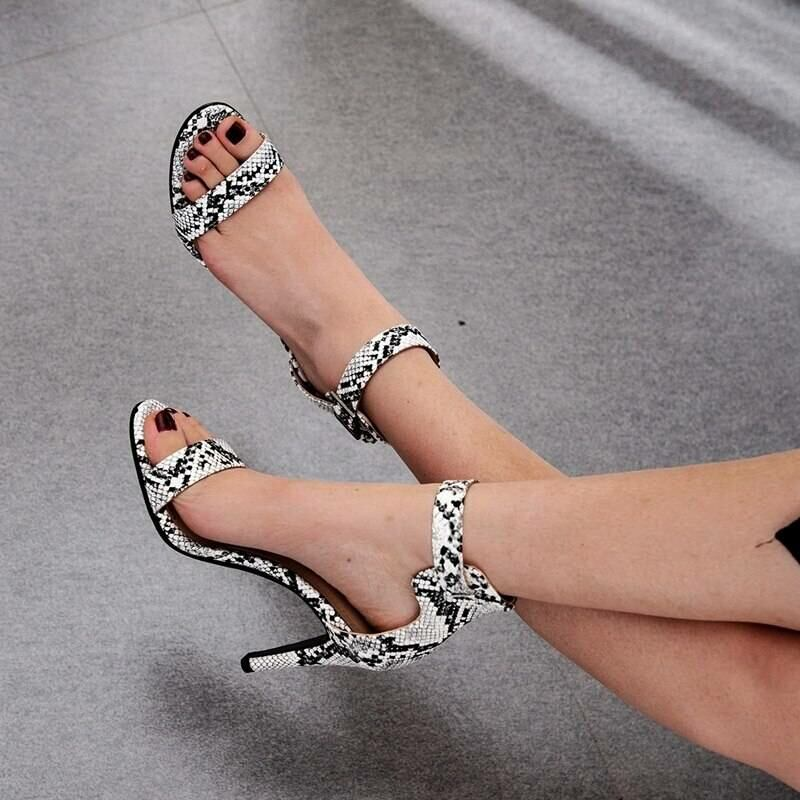 Women SHOES Women high heel sandals with snakeskin pattern in white 3