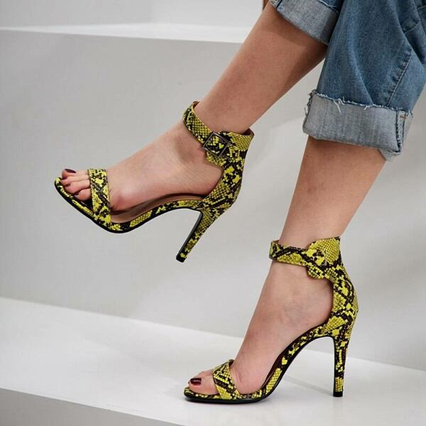 Wopmen SHOES Women high heel sandals with snakeskin pattern in yellow 1