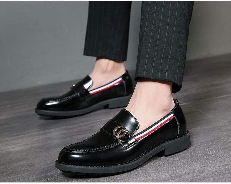 Men SHOES Black leisure leather loafers for men 1