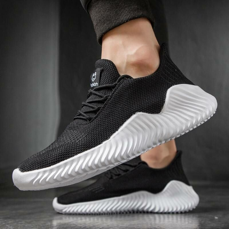 Men SHOES Lac-up lightweight knitted sneakers for men in black