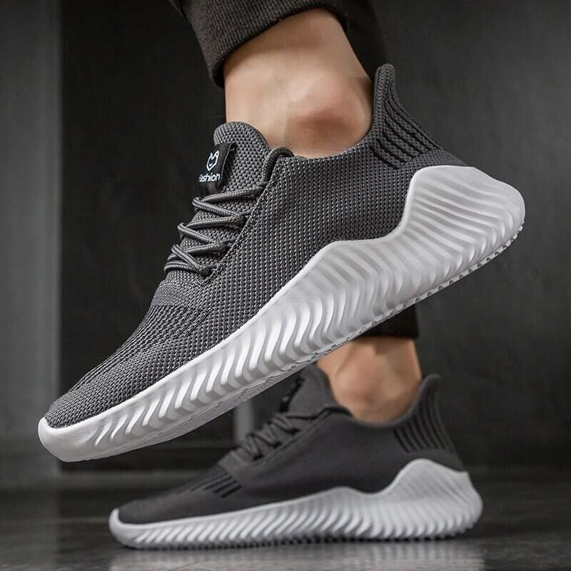 Men SHOES Lac-up lightweight knitted sneakers for men in grey 2