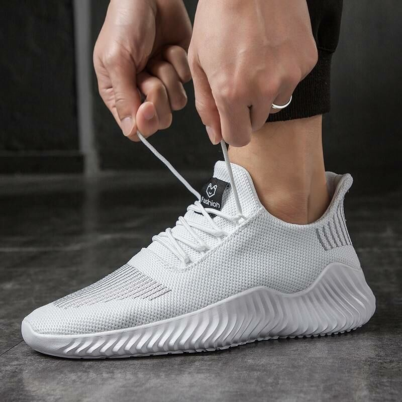 Men SHOES Lac-up lightweight knitted sneakers for men in white 1