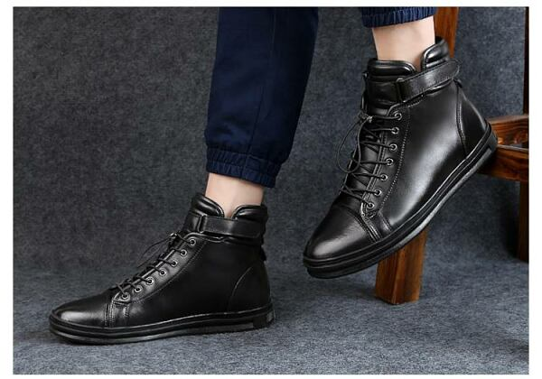 Men SHOES Black genuine leather sneaker boots for men 2